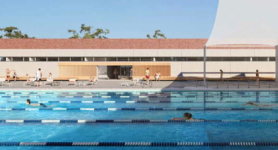 Artist rendering of Carnegie Swim Centre showing swim lanes shaded by a sail cloth
