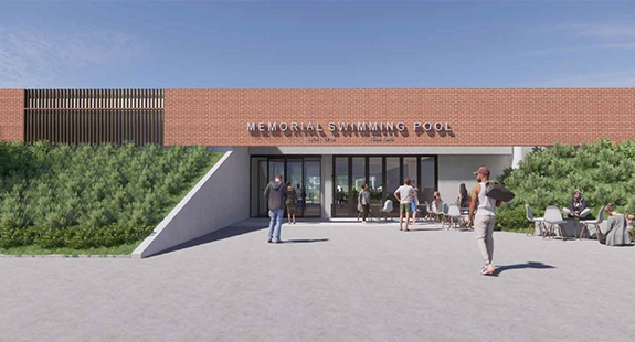 Carnegie Swim Centre rendering of the new entrance showing the red brick, wood and concrete facade with sloped landscanding